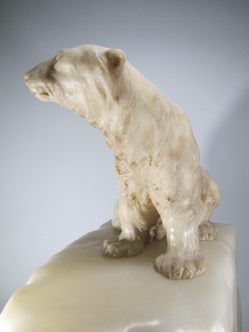 Antiques Art Deco bear alabaster lamp, signed - 5