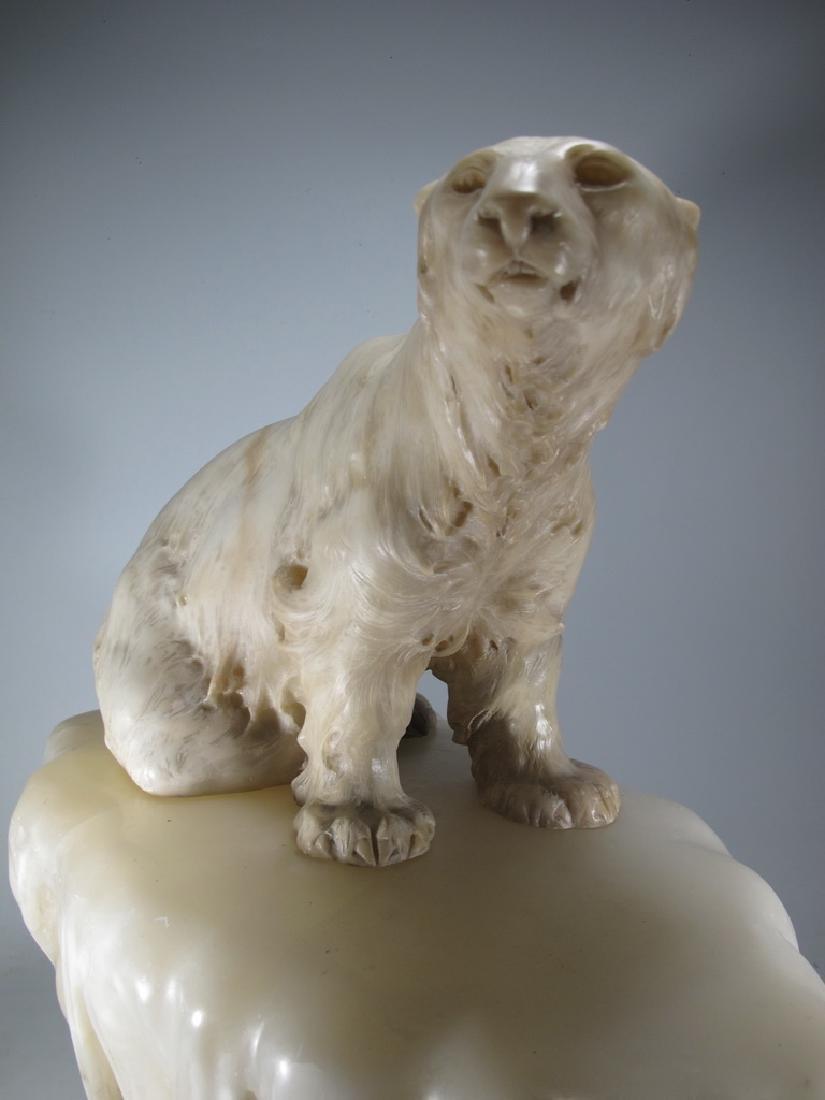 Antiques Art Deco bear alabaster lamp, signed - 7