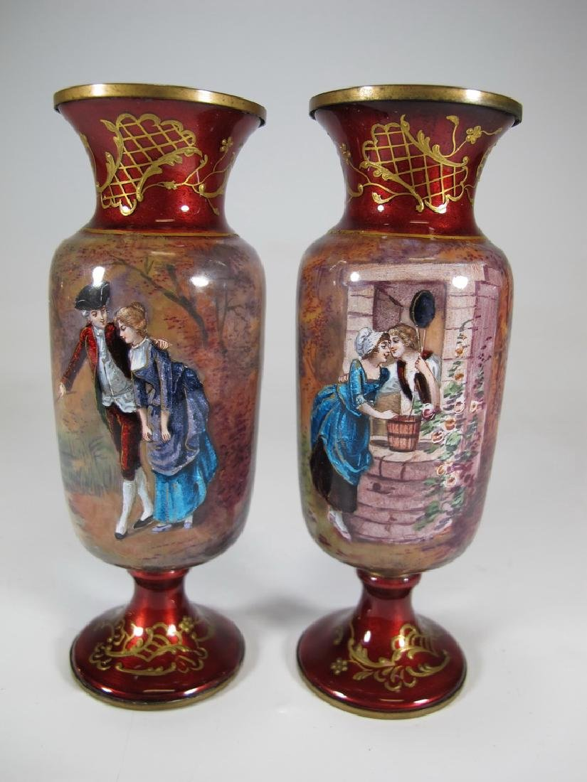 Antique Pair of European enamel vases, signed