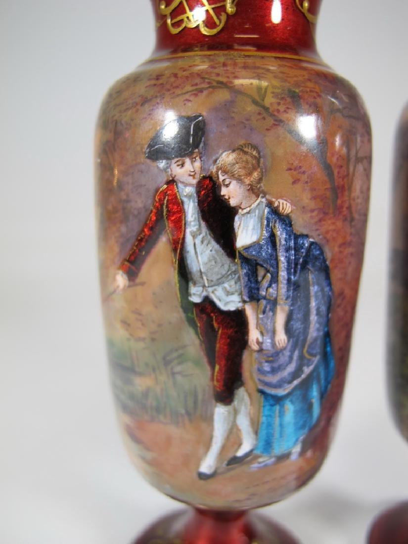 Antique Pair of European enamel vases, signed - 3