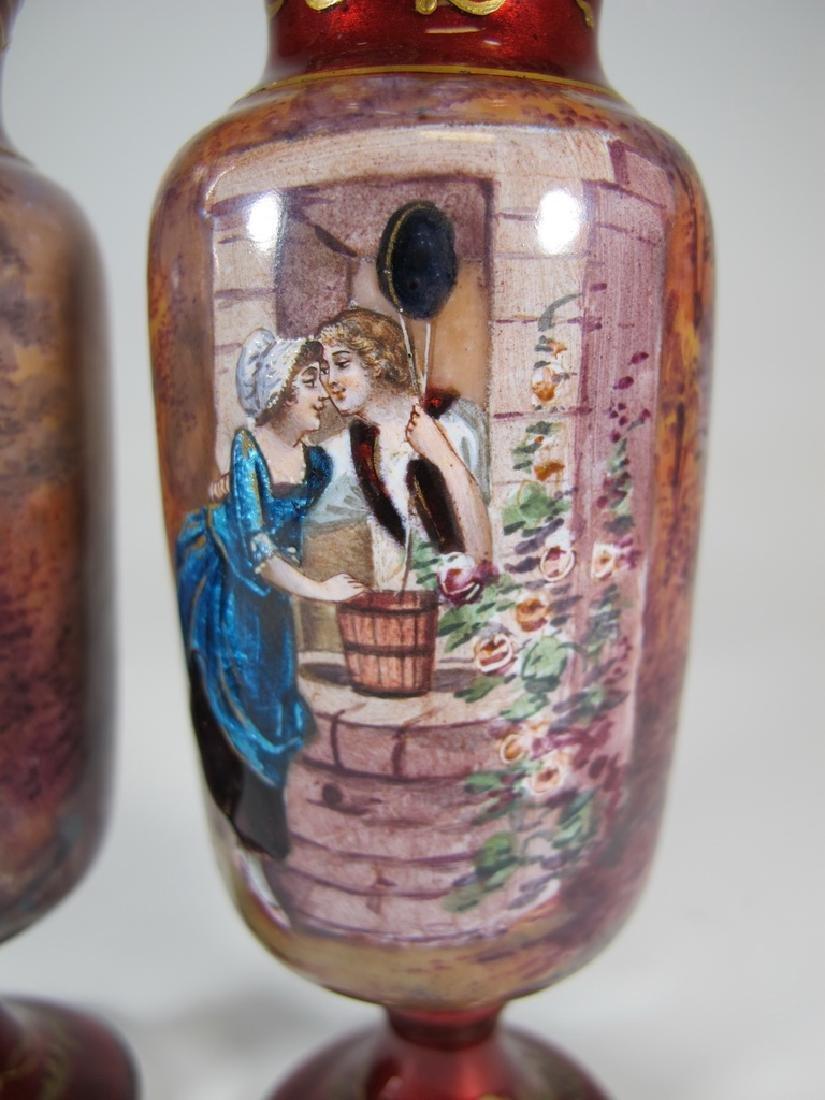 Antique Pair of European enamel vases, signed - 4