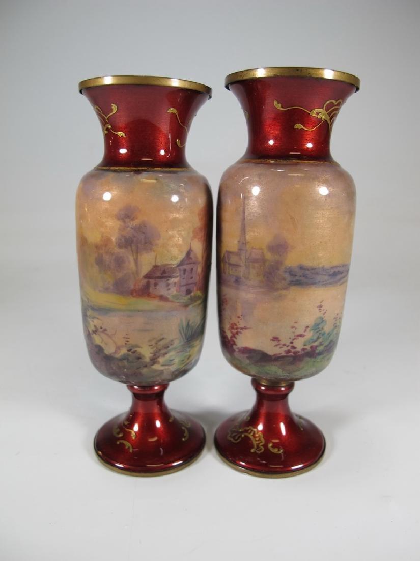 Antique Pair of European enamel vases, signed - 6