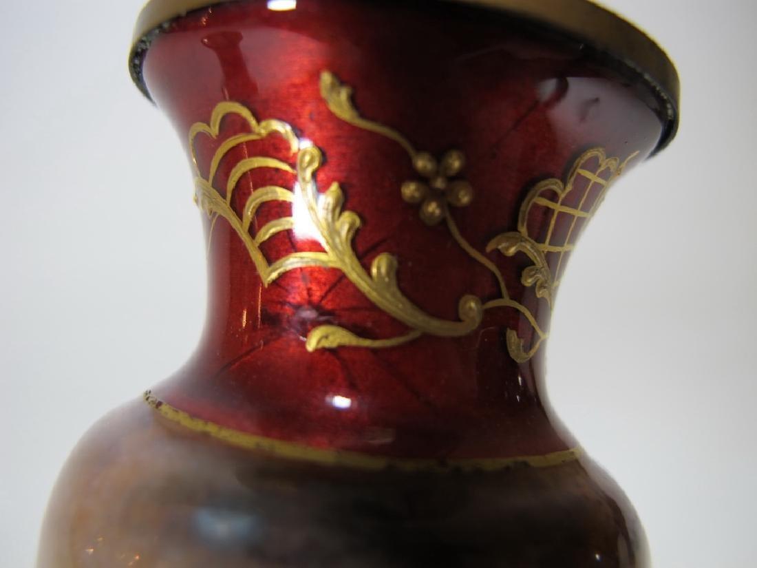 Antique Pair of European enamel vases, signed - 8
