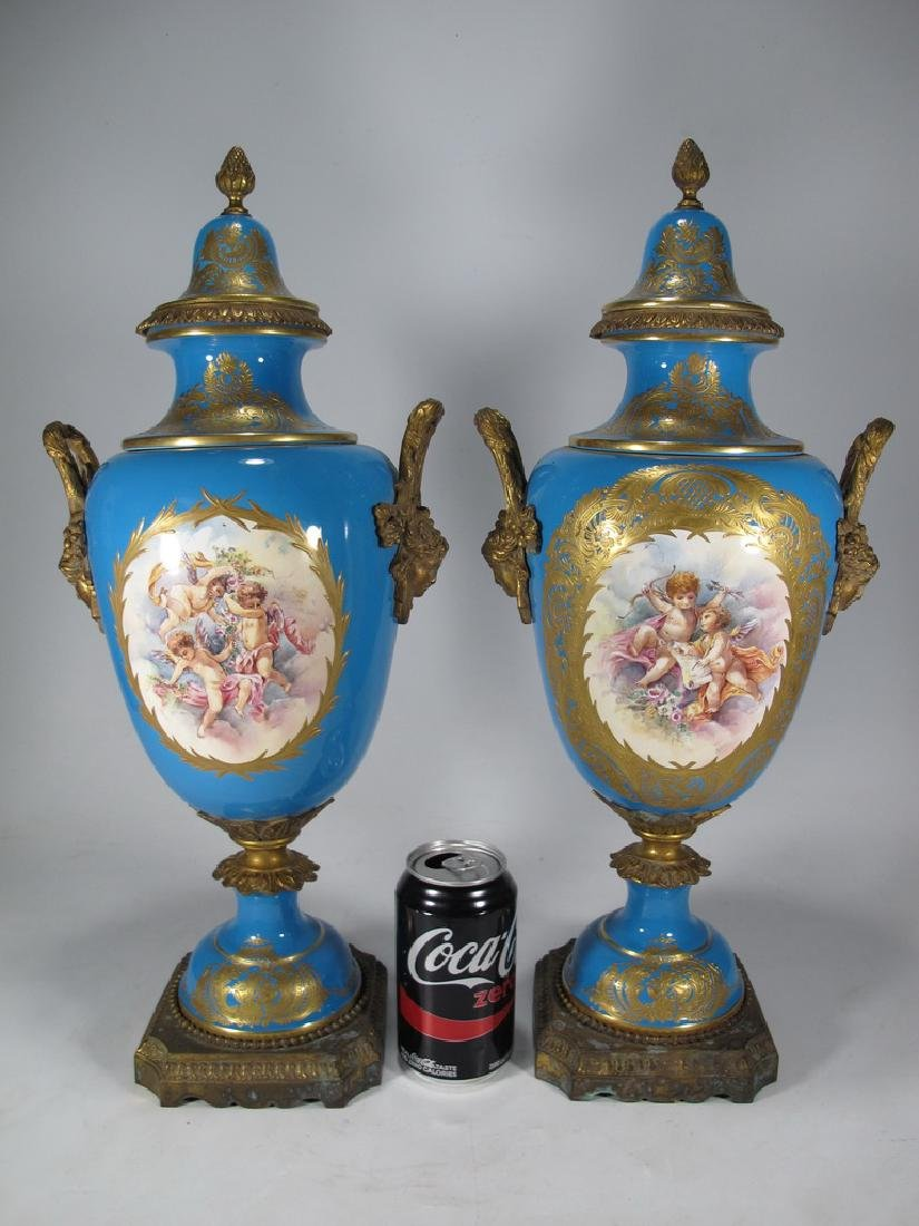 Pair of late 20th C Sevres style porcelain urns