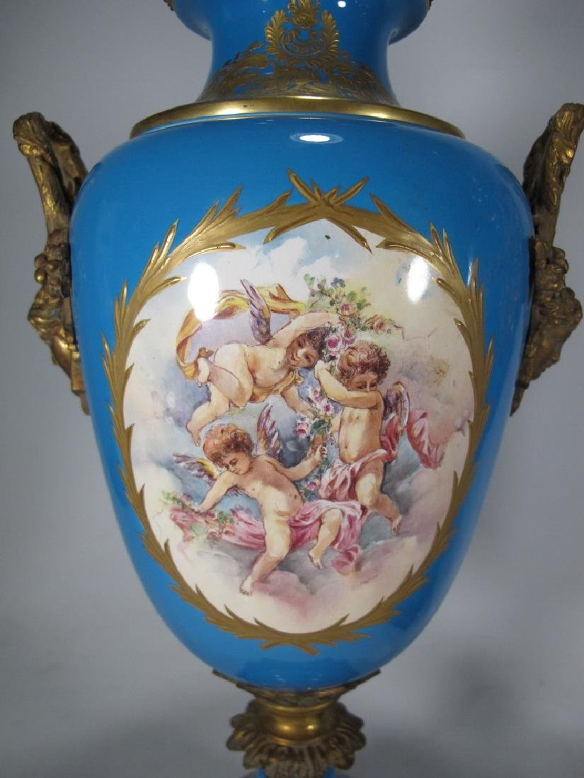 Pair of late 20th C Sevres style porcelain urns - 3