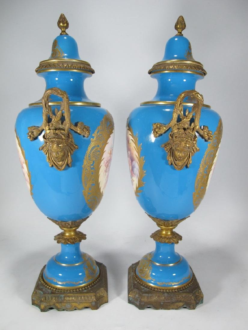 Pair of late 20th C Sevres style porcelain urns - 6