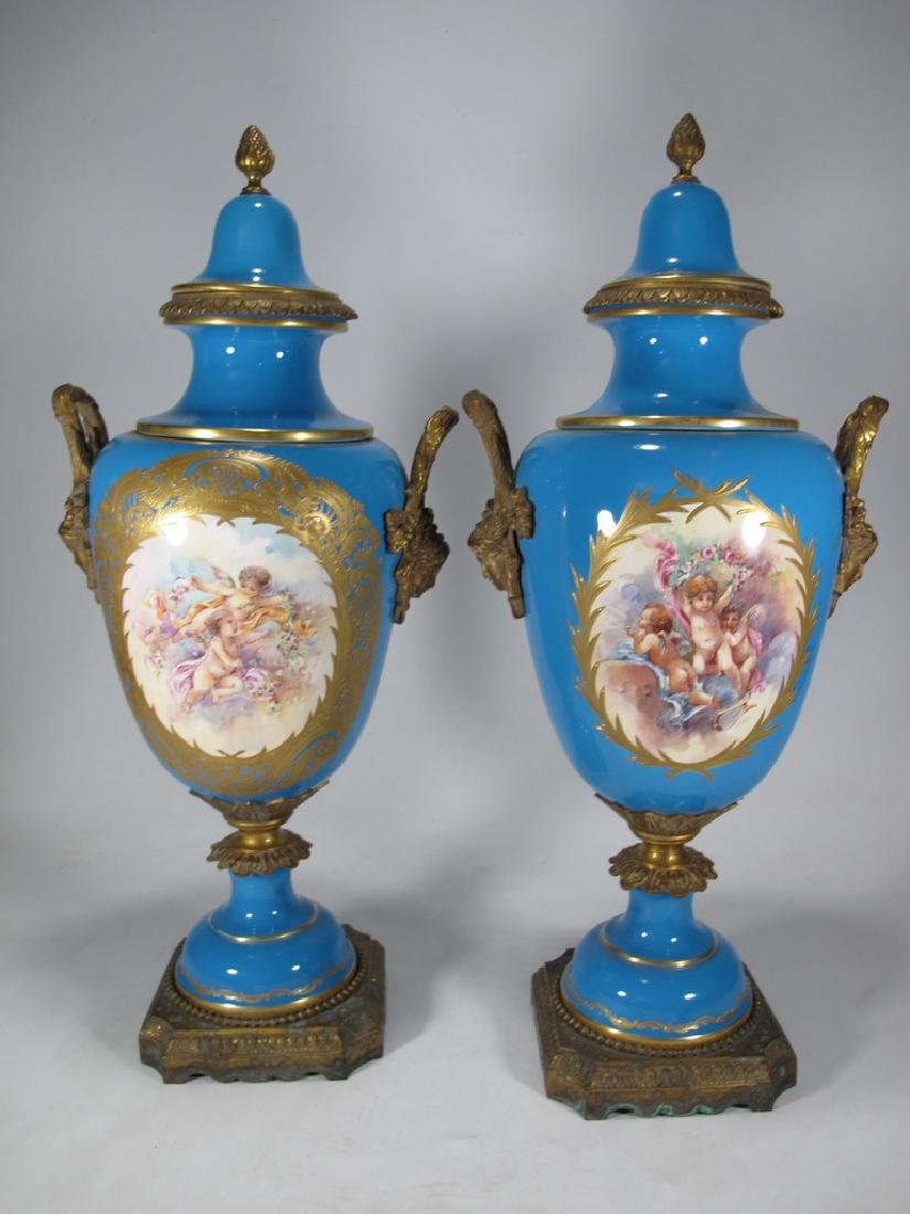 Pair of late 20th C Sevres style porcelain urns - 7