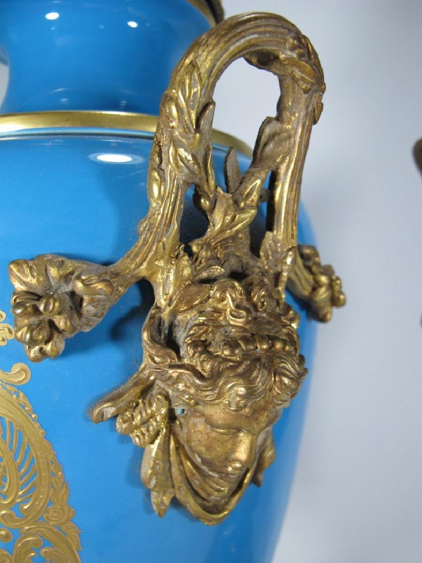 Pair of late 20th C Sevres style porcelain urns - 8