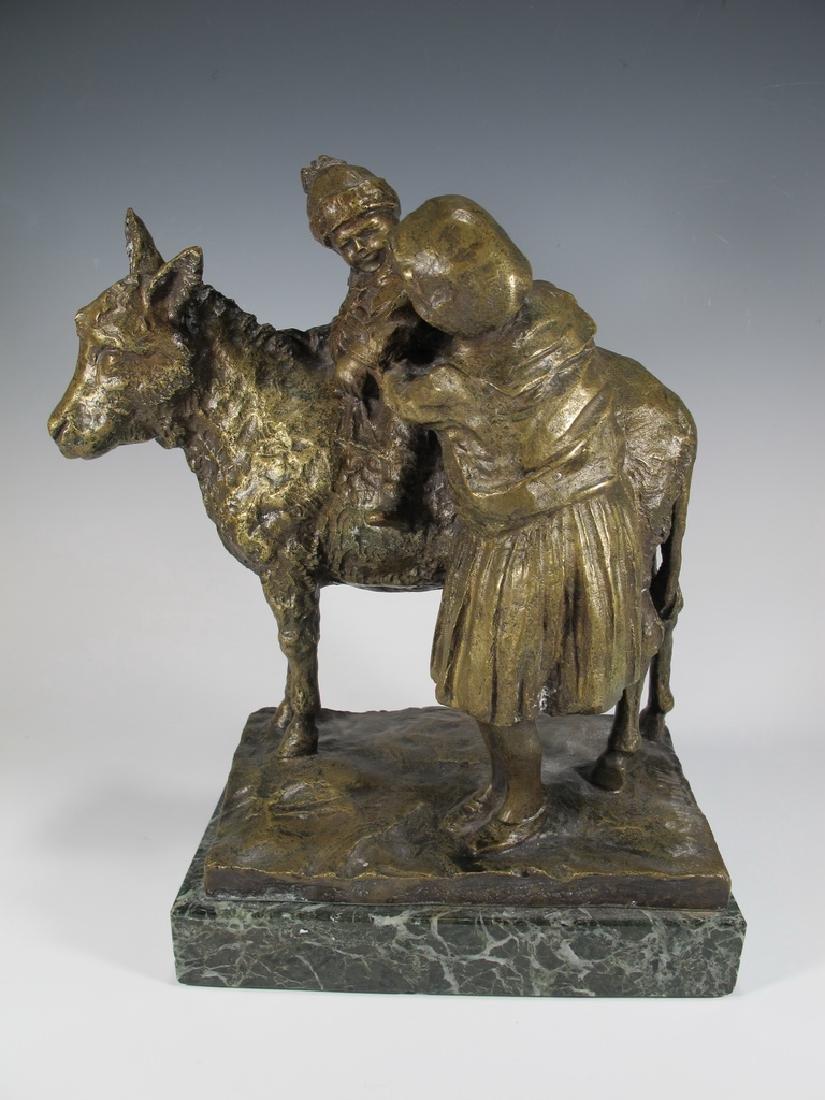 Old Italian Bronze Figure of Mother & Child