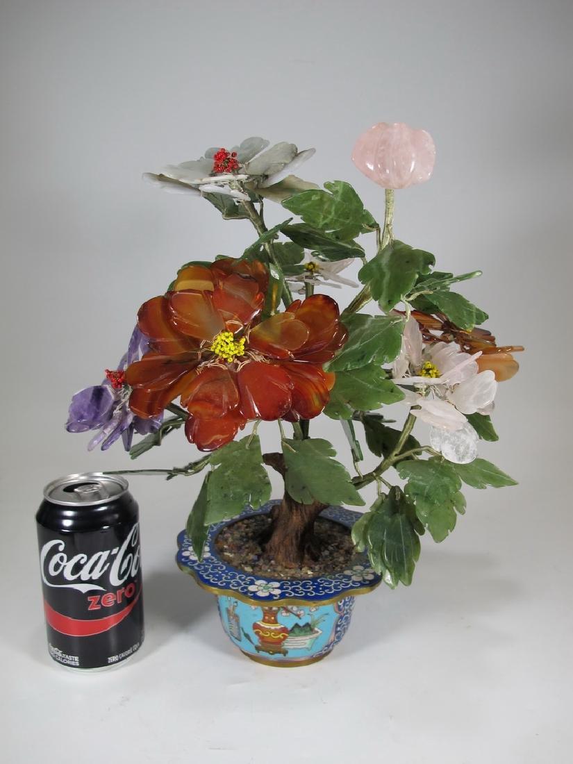 Vintage Chinese cloisonne & stones plants