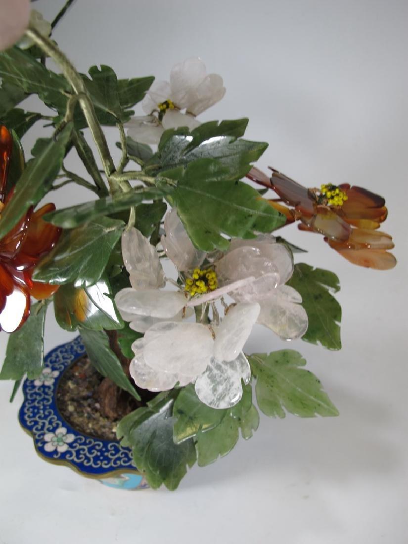 Vintage Chinese cloisonne & stones plants - 3