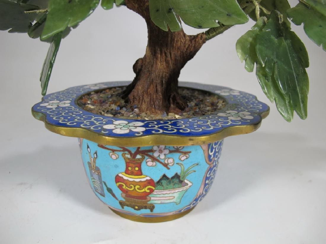 Vintage Chinese cloisonne & stones plants - 4