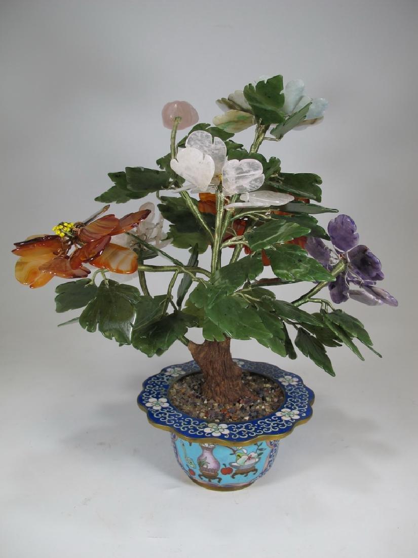 Vintage Chinese cloisonne & stones plants - 5