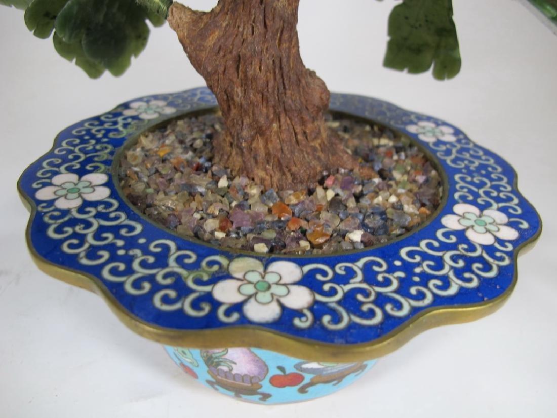 Vintage Chinese cloisonne & stones plants - 6