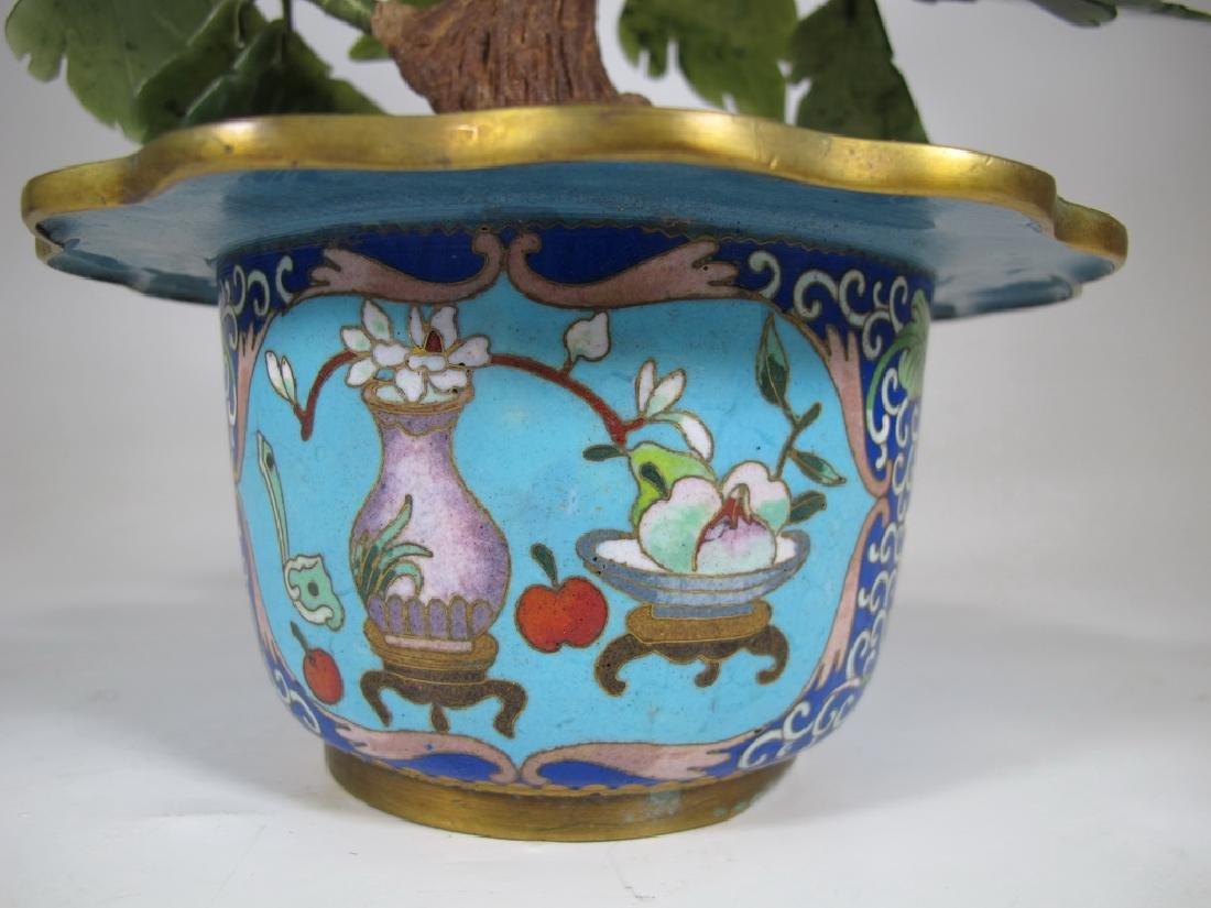 Vintage Chinese cloisonne & stones plants - 7