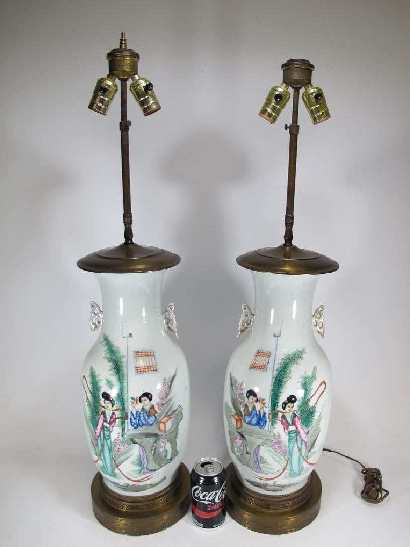 Vintage pair of Chinese porcelain lamps