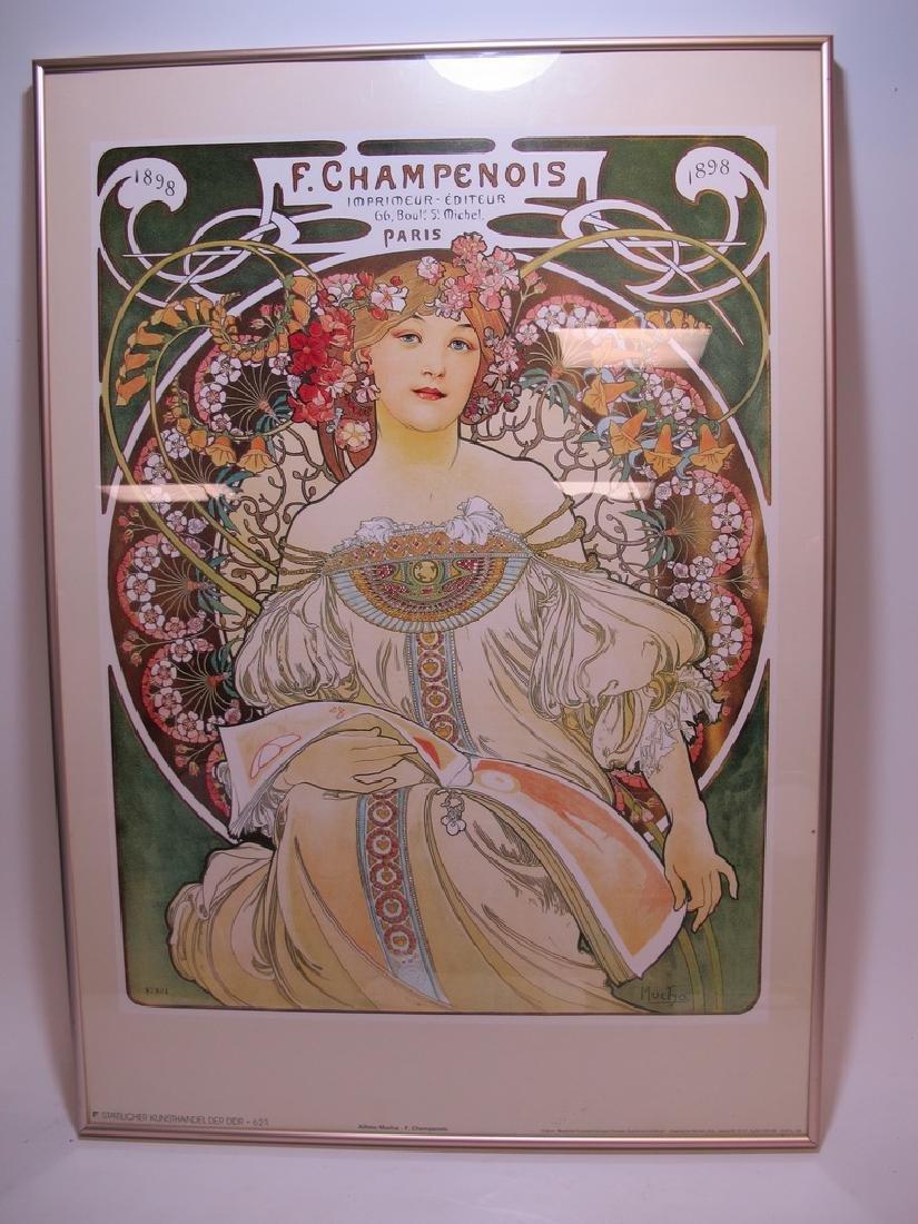 Vintage Alphonse Mucha framed poster