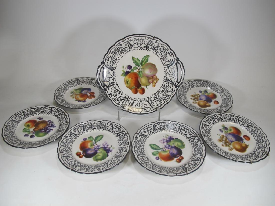 Set of 7 pcs Italian Ginori porcelain tray & plates
