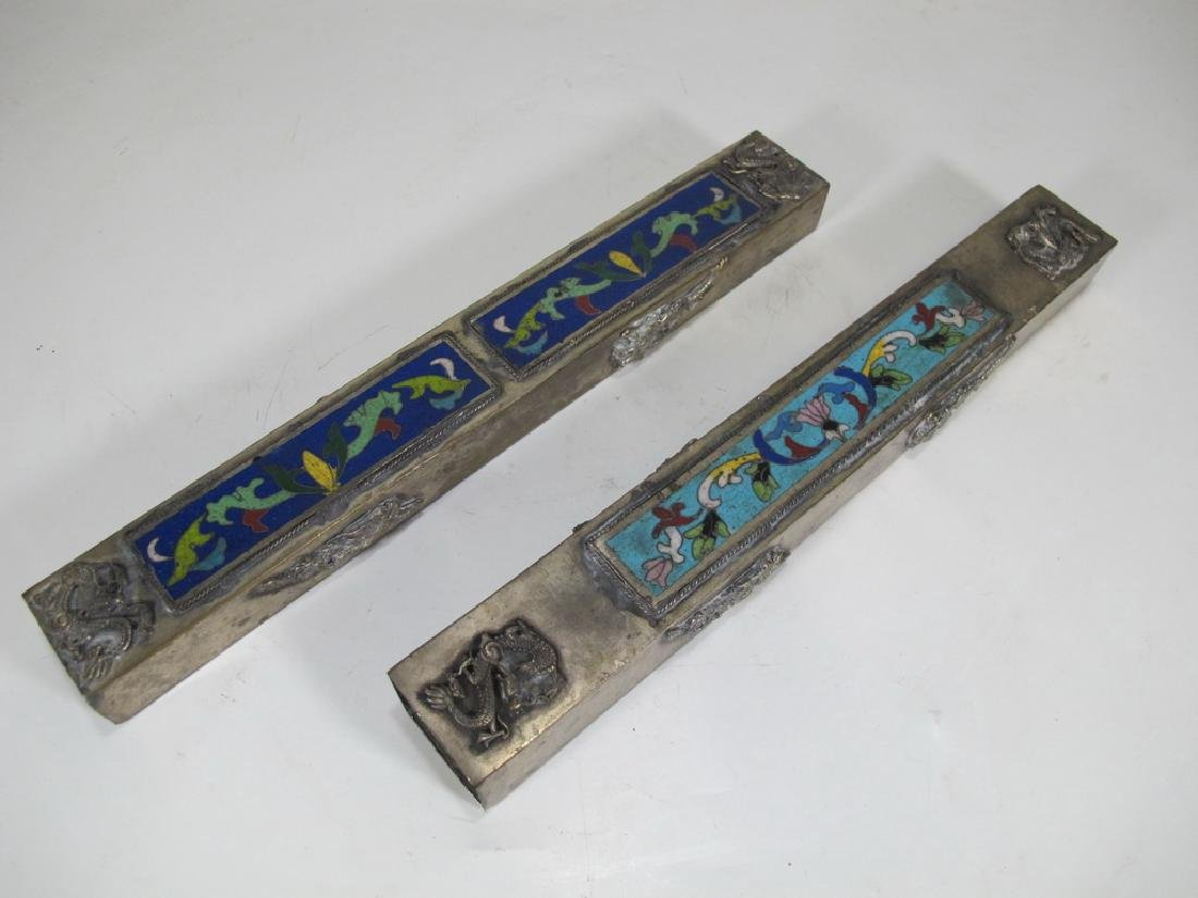 Antique Chinese pair of metal cloisonee pencil boxes