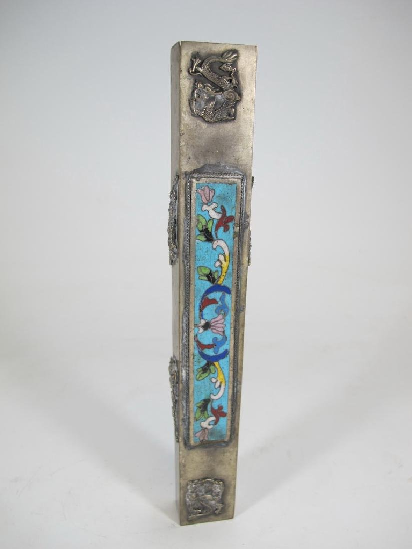 Antique Chinese pair of metal cloisonee pencil boxes - 2