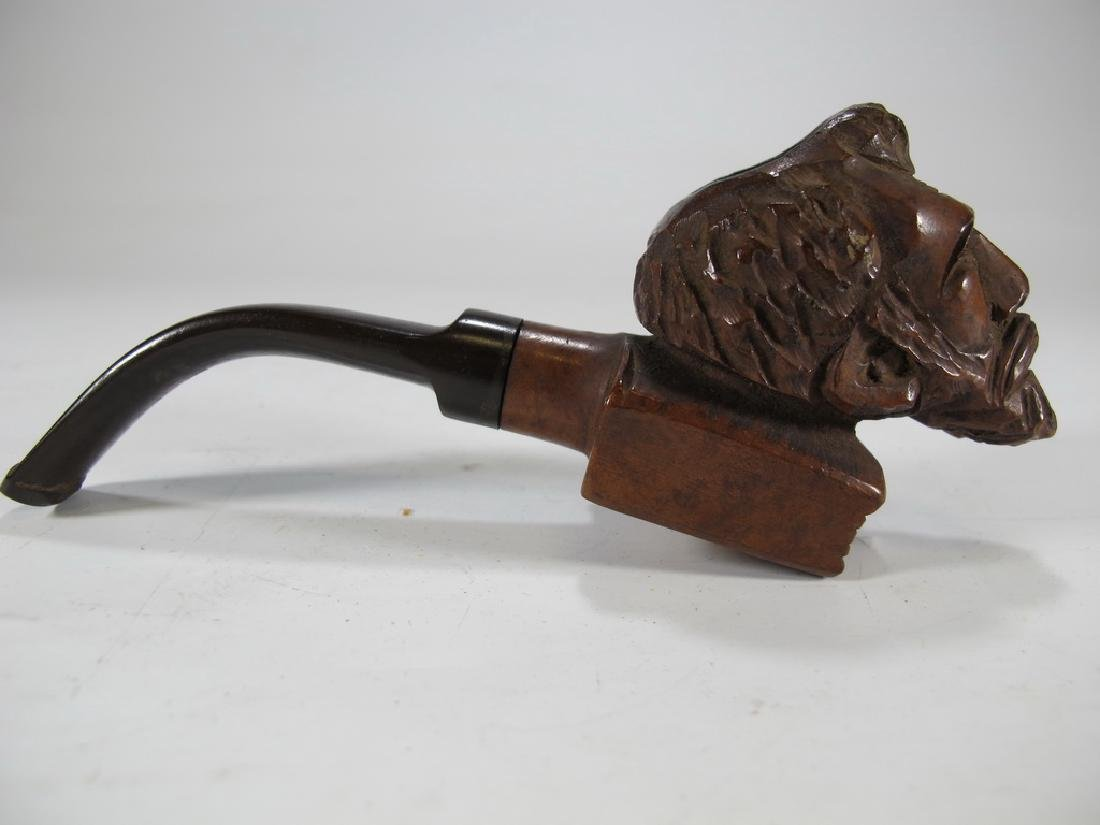 Antique Italian carved wood pipe