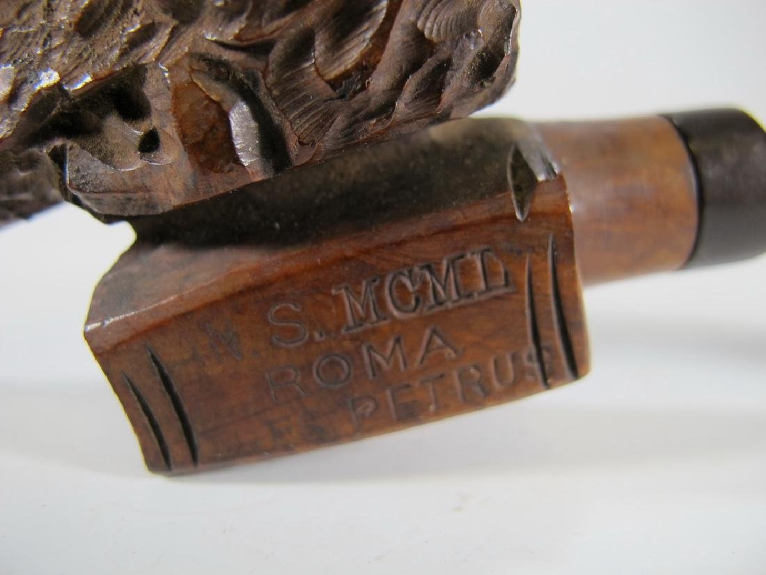 Antique Italian carved wood pipe - 5