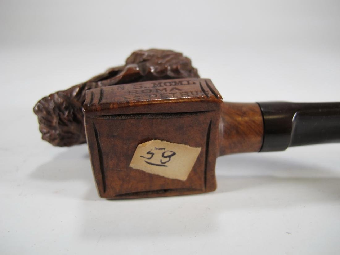 Antique Italian carved wood pipe - 7