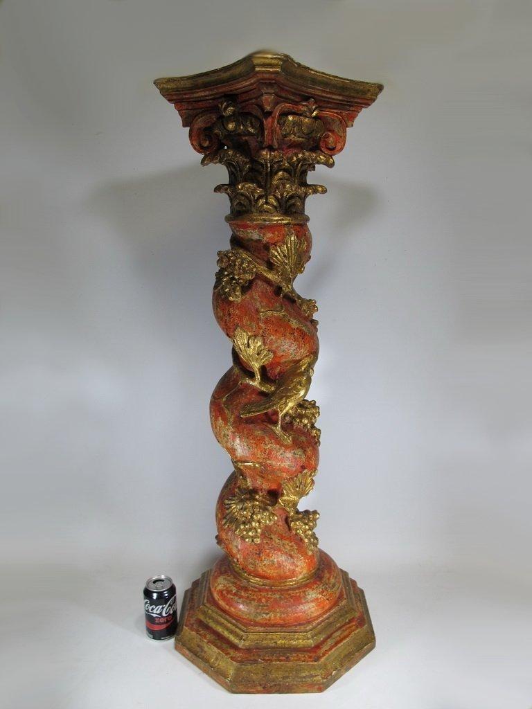 Vintage huge Oriental carved wood pedestal