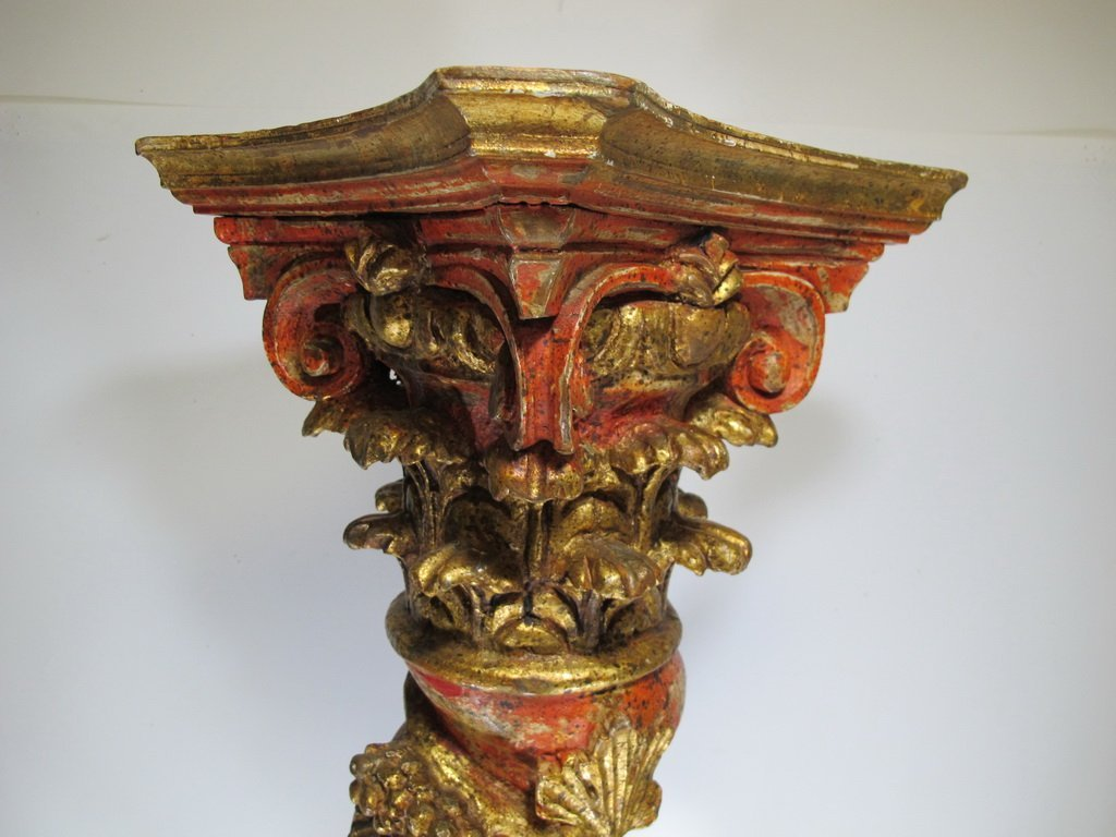 Vintage huge Oriental carved wood pedestal - 2