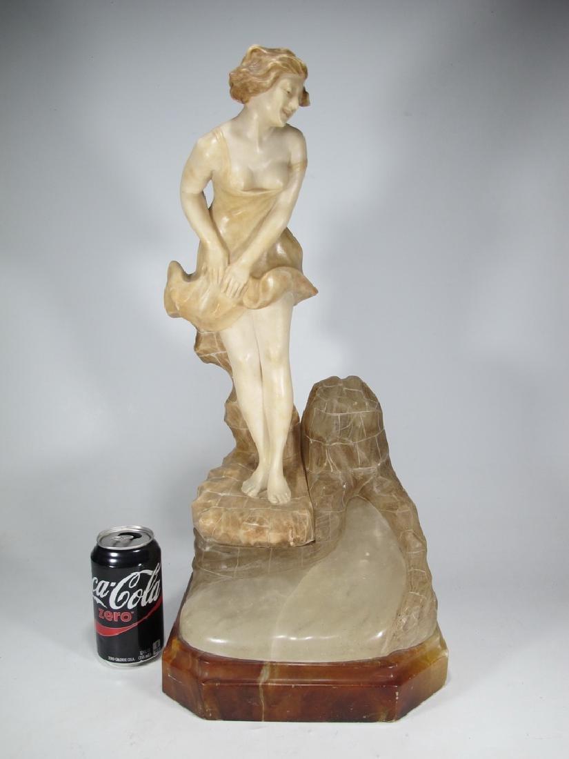 Antique Art Deco alabaster girl sculpture