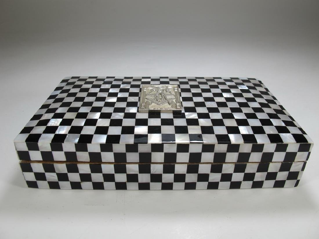 Masonic checkered mother of pearl wooden trinket box