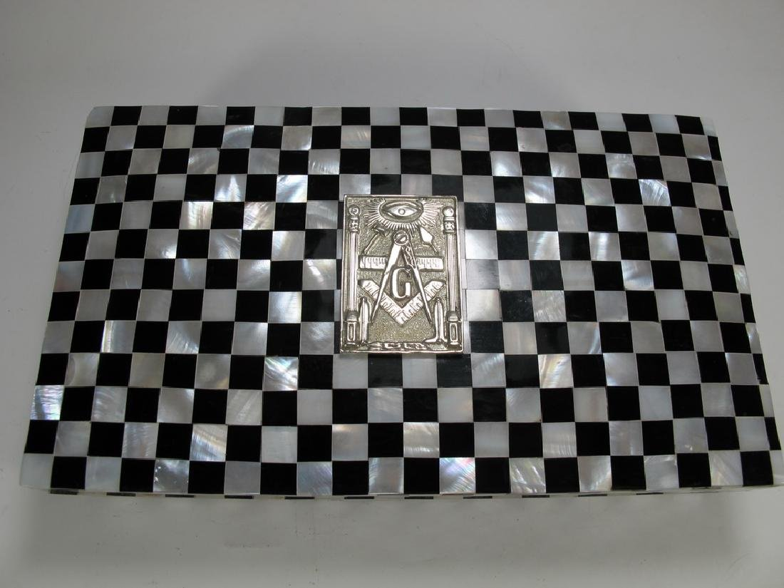 Masonic checkered mother of pearl wooden trinket box - 2