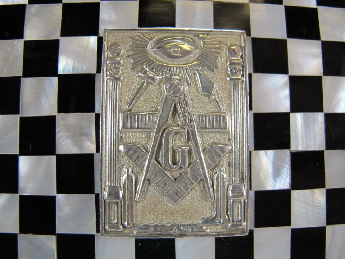 Masonic checkered mother of pearl wooden trinket box - 3