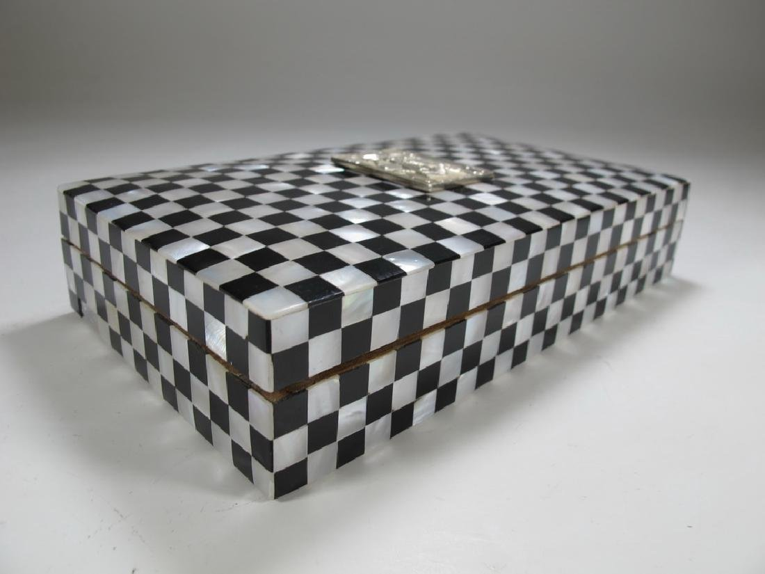 Masonic checkered mother of pearl wooden trinket box - 4