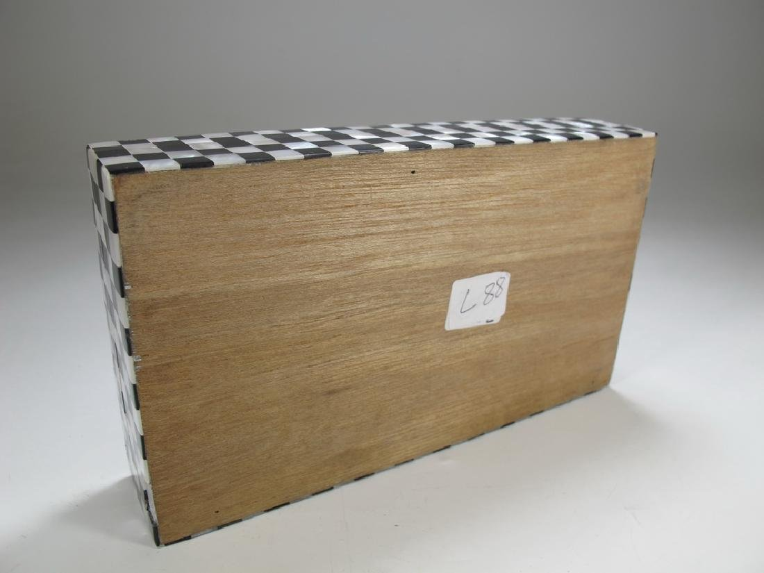 Masonic checkered mother of pearl wooden trinket box - 6