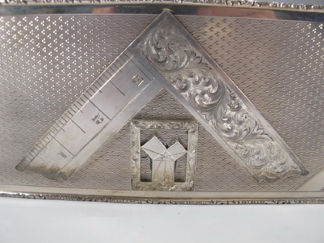 Antique English Masonic silver cigarette box - 2