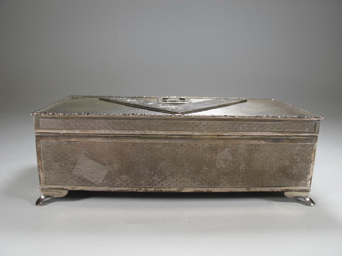Antique English Masonic silver cigarette box - 5