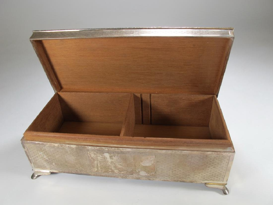 Antique English Masonic silver cigarette box - 6