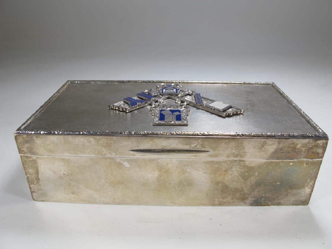 Antique English Masonic silver cigarette box