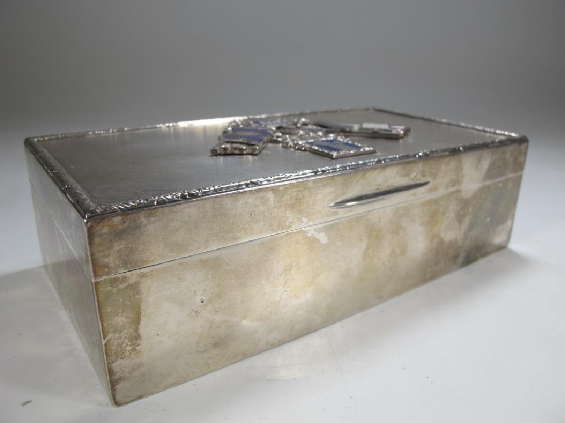 Antique English Masonic silver cigarette box - 3
