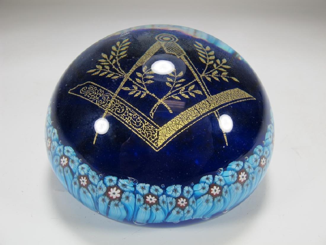 Vintage Murano Millefiore Masonic Symbol paperweight