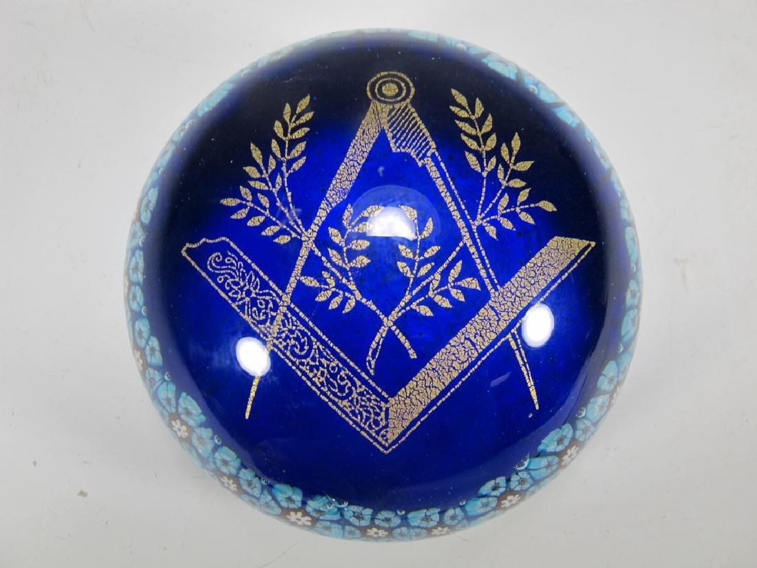 Vintage Murano Millefiore Masonic Symbol paperweight - 2