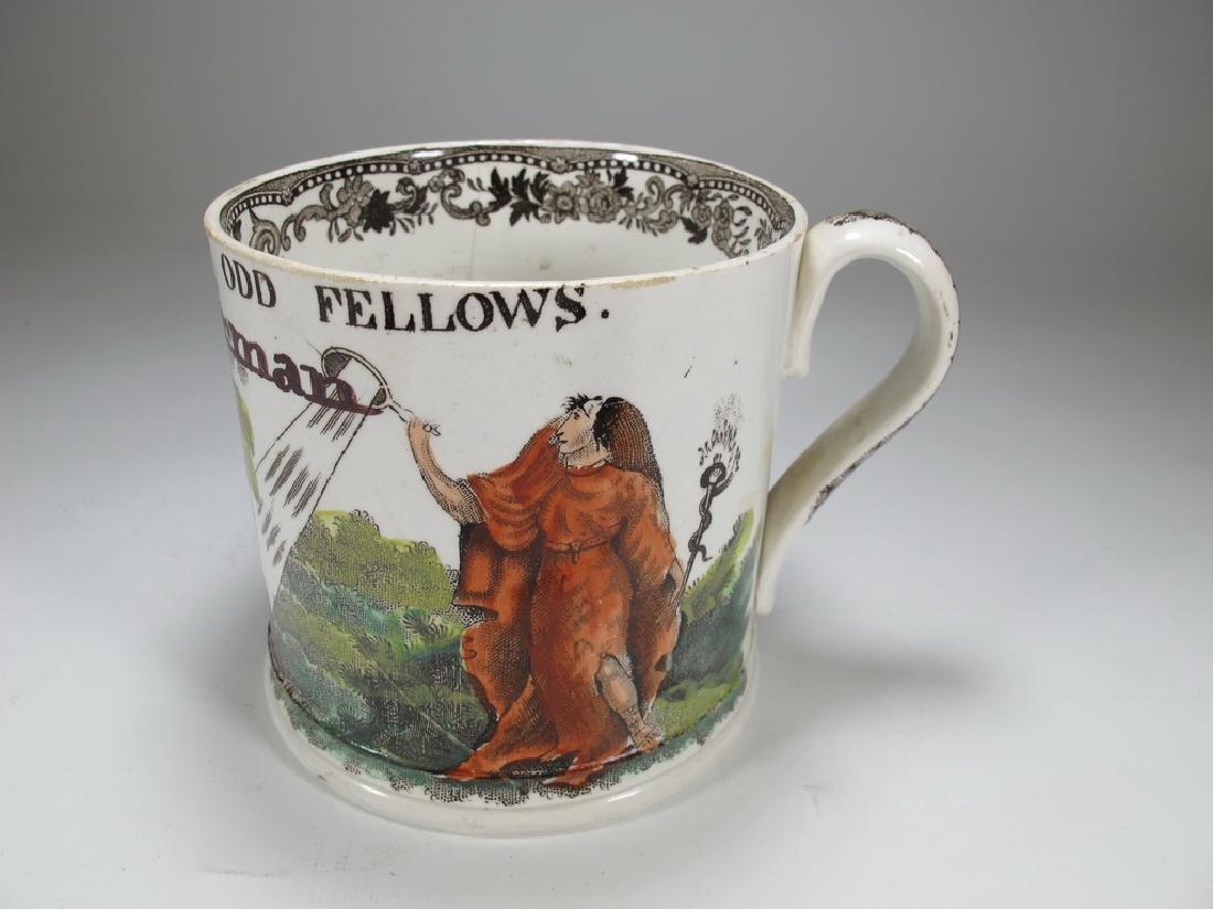 Antique Masonic porcelain mug