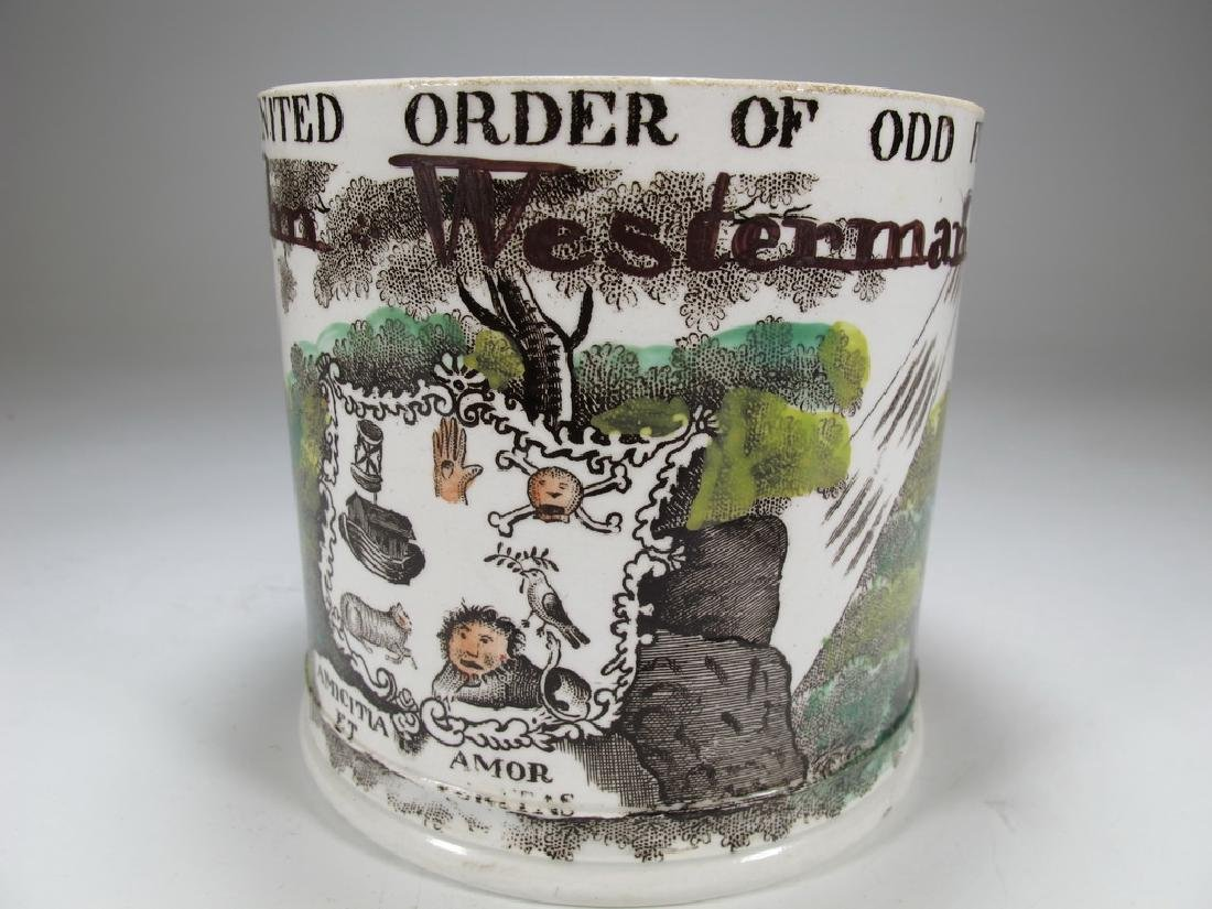 Antique Masonic porcelain mug - 2