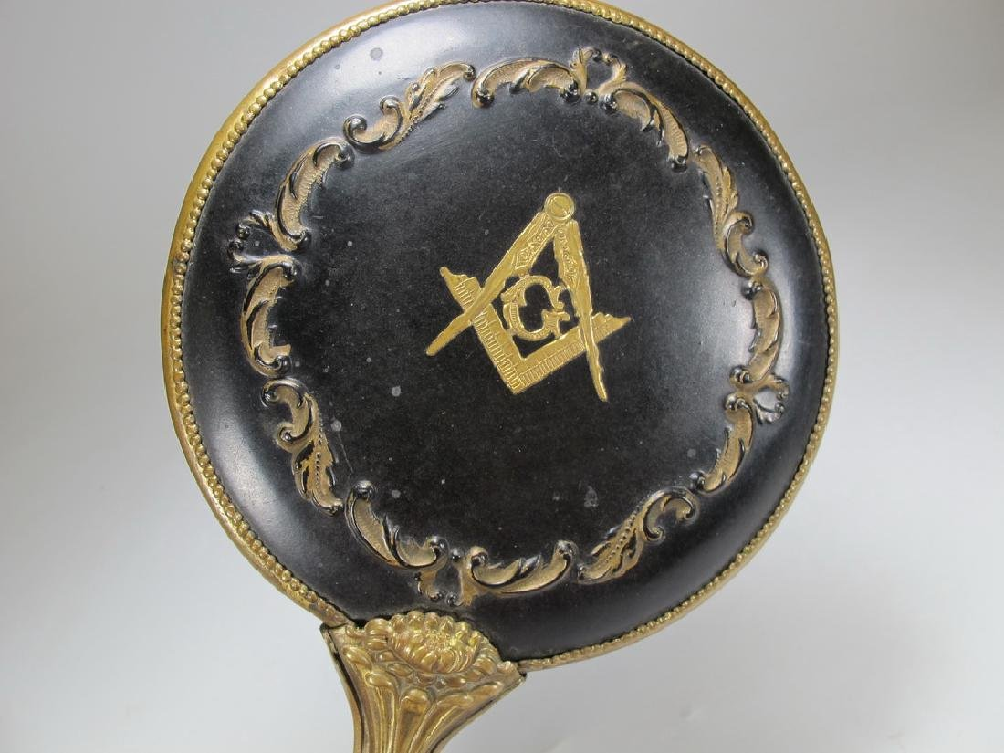 Antique Masonic metal handle mirror - 3