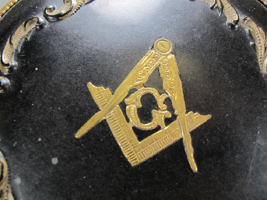 Antique Masonic metal handle mirror - 6