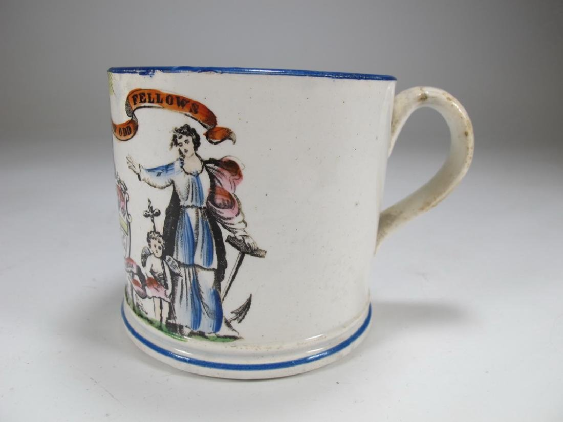 Antique creamware Masonic small mug