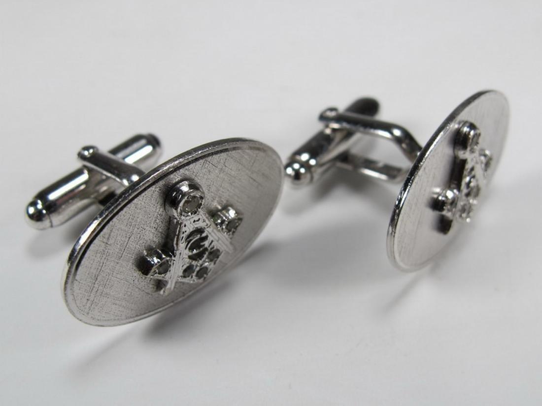 Pair of Anson sterling Masonic cufflinks