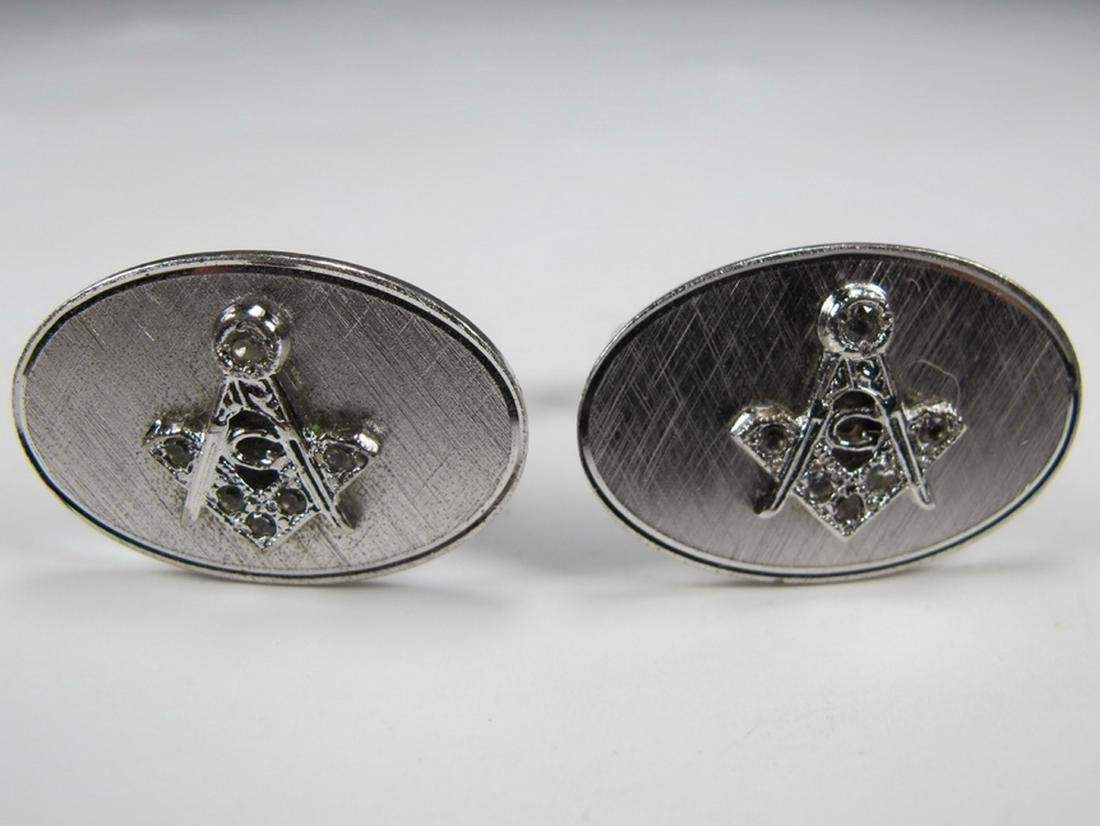Pair of Anson sterling Masonic cufflinks - 2