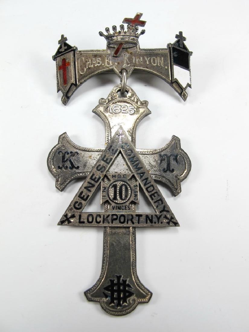 Antique sterling silver, enamel, Masonic Knights